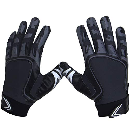 Pure Athlete Football Receiver Gloves - Elite-Stick Silicone Gripping Technology - Adult Sizes (Black, Medium)