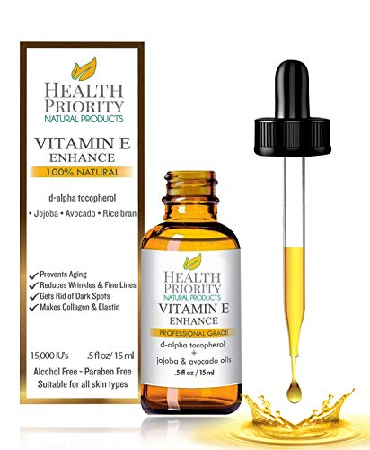 100% Natural & Organic Vitamin E Oil For Your Face & Skin, Unscented - 15,000/30,000 IU - Reduces Wrinkles & Fade Dark Spots. Essential Drops Are Lighter Than Ointment. Raw Vit E Extract Sunflower.