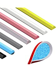 Collapsible Shower Threshold Water Dam Self Adhesive 7 Colors Silicone Bathroom Shower Barrier Water Stopper Dry and Wet Separation Flood Shower Dam Barrier Door Bottom S