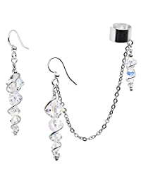 Body Candy Handcrafted Silver Plated Icicle Cuff Chain Earring Created with Swarovski Crystals