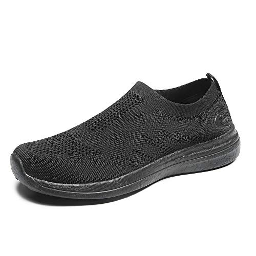 Women's Slip-On Sneakers Mesh Loafer Casual Beach Street Walking Shoes (8 B(M) US, All Black)