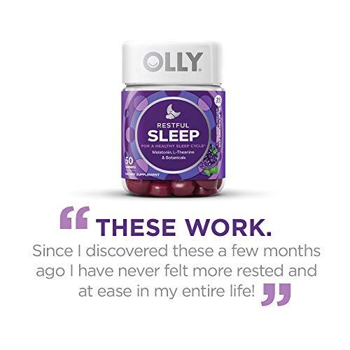OLLY Restful Sleep Melatonin Gummy, 35 Day Supply (70 Gummies), BlackBerry Zen, L Theanine, Chamomile, Lemon Balm, Chewable Supplement by Olly (Image #9)