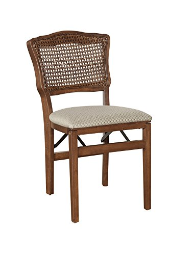 Stakmore French Cane Back Folding Chair Finish, Set of 2, - Back Folding Cane Chairs