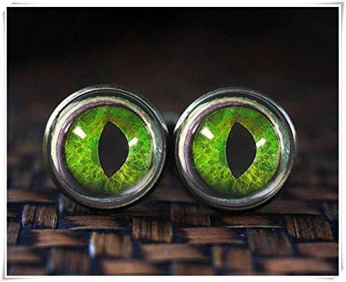 CuteTRex jewelry Dragon Eye cufflinks, Green Dragon cufflinks (Dragon Green Cufflinks)