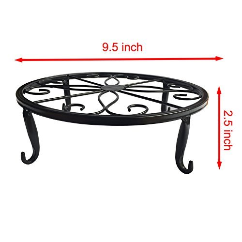B1ST Plant Stand Wrought Iron Planter Trivet Flowerpot Holder Olde Metal / Iron Art Flower Pot Supporting Indoor Outdoor Garden Pack of 3 Colors by B1ST (Image #2)