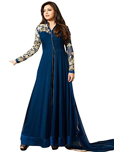 ZFashion Drashti Dhami Blue Color Banglory Silk Front Open Slit ...