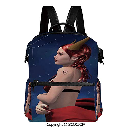 SCOCICI Stylish Bookbags Child Back to School Gift,Taurus Girl with Horns Maleficent Zodiac Stars Venus Beauty Graphic Design Decorative,L11.4xW6.3xH15 Inches