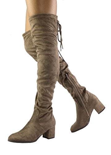 Suede Thigh High Boots - DREAM PAIRS Women's Laurence Khaki Over The Knee Thigh High Chunky Heel Boots Size 7.5 M US