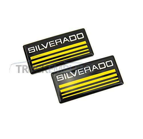2 New Custom Black & Yellow 88-98 Silverado Side Panel Emblem Decals (Emblems Door Panel)