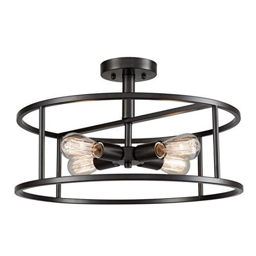 EUL Industrial Semi Flush Mount Ceiling Light 4-Light Metal Drum Chandelier Lighting Fixture ()