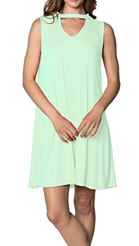 Velucci Swing Dress for Women - Womens Tunic Sleeveless Tank Summer Dresses (Mint-S)