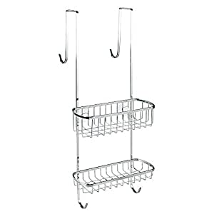 InterDesign Gia Bathroom Over Shower Door Caddy for Shampoo, Conditioner, Soap - Polished Stainless Steel