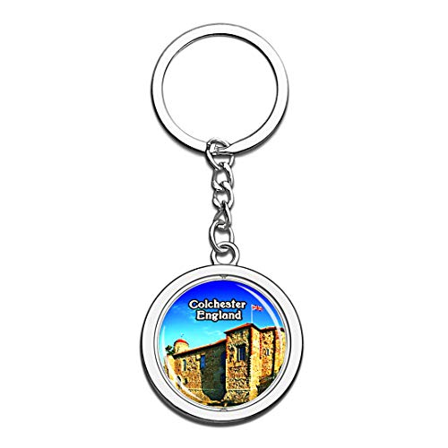 Colchester Castle Museum UK England Keychain 3D Crystal Creative Spinning Round Stainless Steel Keychain Travel City Souvenir Collection Key Chain