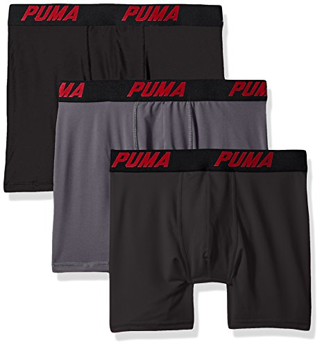 PUMA Men's Volume Boxer Brief (3-Pack), Black/Grey, Large