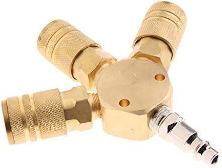 D DOLITY クイック継手 3ウェイ エアホース スプリッター 1/4インチ 高品質 真鍮製 取り付けが簡単