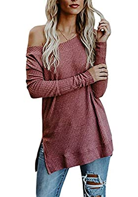 HMei Women's Sweaters Off The Shoulder Casual Long Sleeve Knit Pullover Tunic Tops