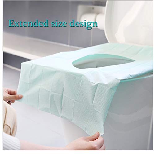 Luckiplus 40PC Large Disposable Toilet Seat Covers Portable Potty Seat Covers Protectors PE Waterproof Film Travel Toilet Mats Covers for Adults and Kids Toddlers Potty Training (40 PC)
