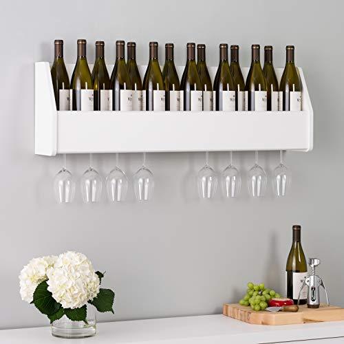 Prepac Floating Wine Rack, White, 18 Standard 750ml Bottles Spirits