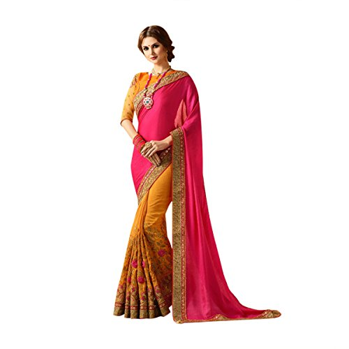 Yellow & Bright Pink Color Bollywood Saree Sari With Latest Stylish Pattern On Blouse Just Launched Women Wedding Ceremony Party Wear Diwali Festive By Ethnic Emporium 526 by ETHNIC EMPORIUM