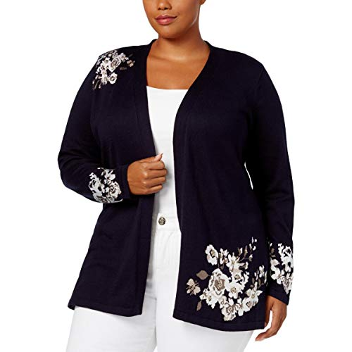 - Charter Club Womens Plus Floral Jacquard Cardigan Sweater Navy 1X