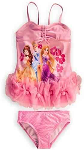 68d0894194531 Disney Store Deluxe Princess Pink Swimuit Rapunzel Belle Cinderella