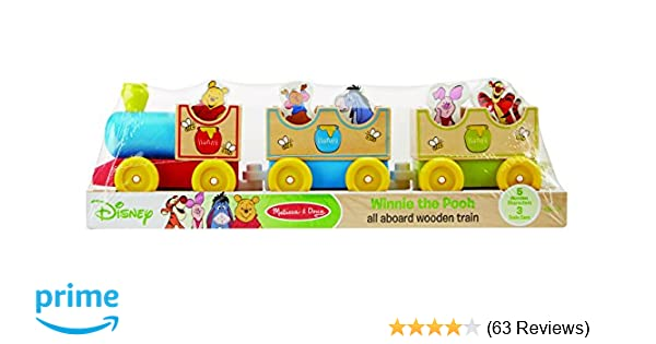 d7f6288473d6 Amazon.com  Melissa   Doug Disney Baby Winnie the Pooh All Aboard Wooden  Train With 3 Train Cars and 5 Characters  Melissa   Doug  Toys   Games