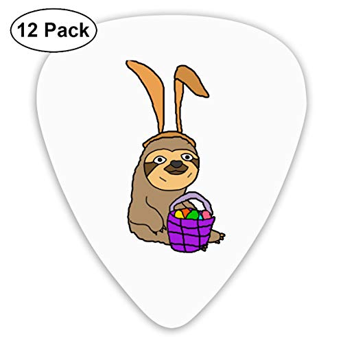 (Unique Designs Guitar Picks - Funny Sloth Wearing Easter Bunny Ears Guitar Picks -Premium Music Gifts & Guitar Accessories For Dad-12 Pack)