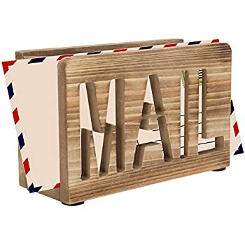 MyGift Rustic Burnt Wood Tabletop Mail Sorter with Mail Cutout Letters