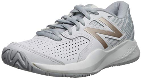 New Balance Women's 696v3 Hard Court Tennis Shoe White/Rosegold 10 B US