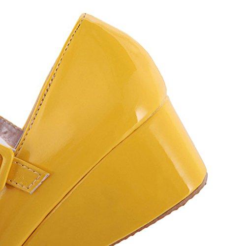 Carissime Scarpe Da Donna Con Cinturino In Pelle Dolce Giallo