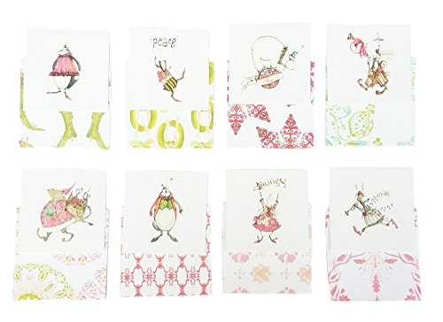 "C.R. Gibson Cid Pear Gift Christmas Enclosure Cards - Variety Pack of 8, 2.75"" Square"