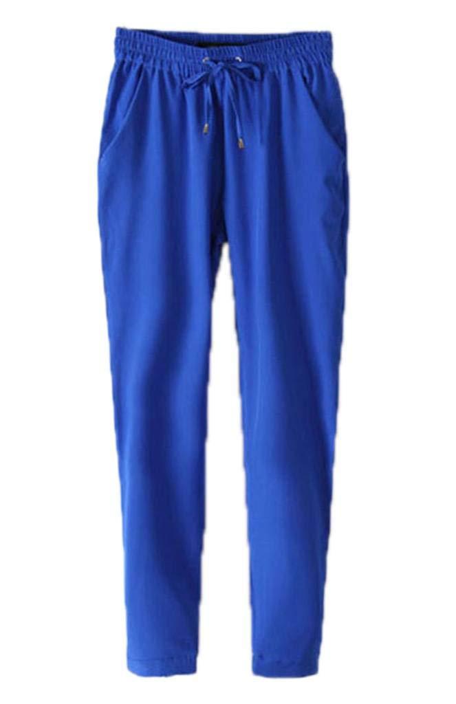 Xiang Ru Women Harem Pants Casual Drawstring Waist Legging Trousers Blue Asia M