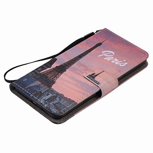 Yiizy Samsung Galaxy J5 (2016) J510 Funda, Torre Eiffel Diseño Solapa Flip Billetera Carcasa Tapa Estuches Premium PU Cuero Cover Cáscara Bumper Protector Slim Piel Shell Case Stand Ranura para Tarjet