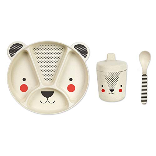 Petit Collage Petit Collage Baby Bear Eco Friendly 3Piece Bamboo Dinnerware Set, ()