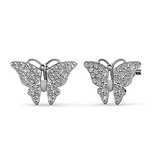 Stud Butterfly Set Earring (Cate & Chloe Everlee Spirited White Gold Butterfly Earrings, 18k Gold Plated Studs with Swarovski Crystals, Butterfly Stud Earring Set with Pave Stone Swarovski Crystals, HYPOALLERGENIC)
