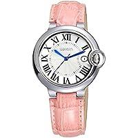 Relojes de moda para mujer, simples relojes de pulsera de cuarzo para mujer con correa de piel auténtica, reloj resistente al agua