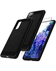 3 in 1 TOCOL Compatible with Samsung Galaxy S20 FE 6.5 inch Flexible Shockproof TPU Protective Phone Case with 2 Pack Tempered Glass Screen Protector and 2 Pack Camera Lens Protector - Matte Black