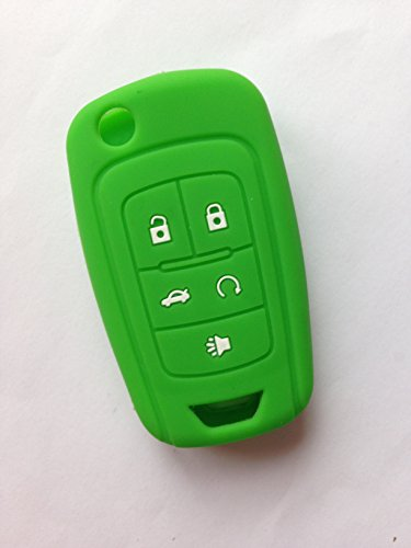 TCKEY Green Silicone Cover Holder Key Jacket Sleeve Protector Keyless Entry Fob Remote for Chevrolet Camaro Cruze Volt Equinox Spark Malibu Sonic Flip Remote Key Case Shell 5 BTN BK