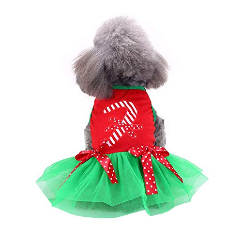 XEDUO Christmas Fashion Pet Small Dog Elk Skirt Clothes Puppy Dress Costume Apparel (S, Green)