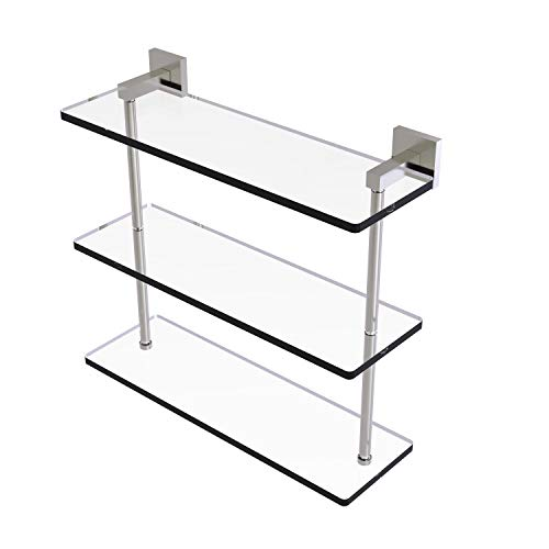 Allied Brass MT-5-16 Montero Collection 16 Inch Triple Tiered Glass Shelf, Satin Nickel