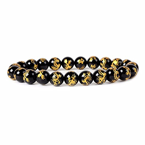 Gold Dragon Black Agate Gemstone 8mm Round Beads Stretch Bracelet 7