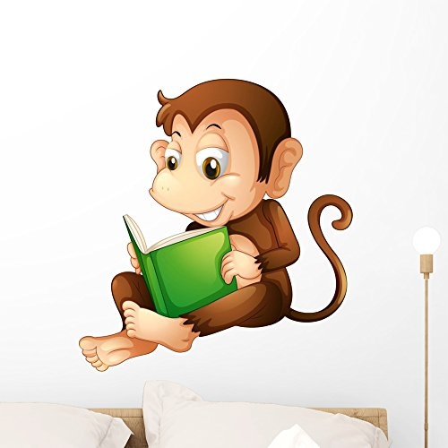 Wallmonkeys Monkey Sitting While Reading Wall Decal Peel and Stick Graphic (24 in H x 22 in W) WM243144