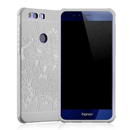 newest 540d6 c54ad Huawei Honor 8 Case, LWGON Shockproof Silicone Protective Case for Huawei  Honor 8 Dragon 3d Design Cases (3D grey)