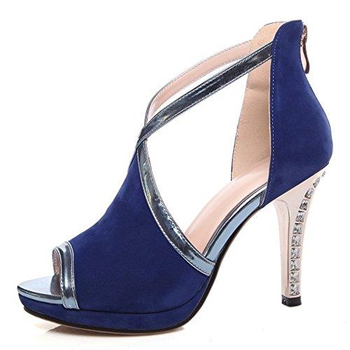 COOLCEPT Stiletto Peep Sandalen Blau Damenmode Plattform Schuhe Reißverschluss mit Toe rfwrxB