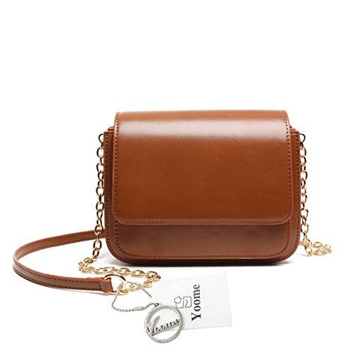 Yoome bolso de la aleta retro color puro callejón estilo elegante zigzag cadena plegable pequeños bolsos para las mujeres - marrón marrón