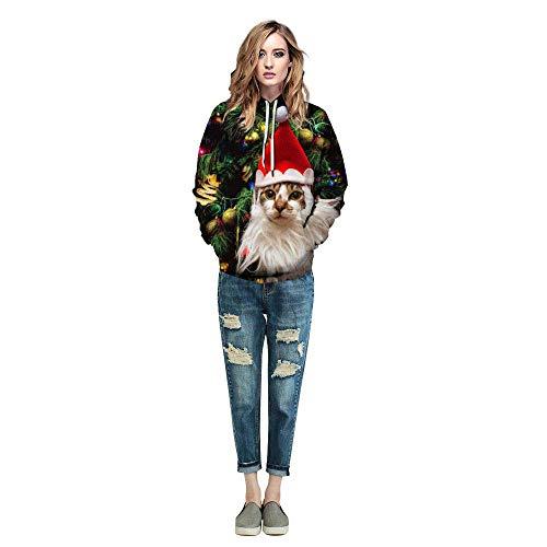Zodof Suéter Camisetas 3d Moda Unisex Impresa Capucha Con Navidad Colorida Hd De Larga Verde2 Unisex Para Estampada Sudadera Manga rr7CdqwnT