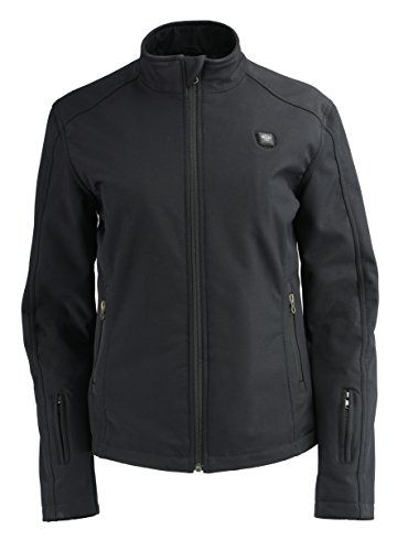 Milwaukee Leather Women's Zipper Front Heated Soft Shell Jacket (Black, M)