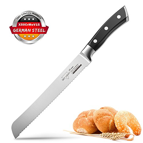 Forged Scalloped Bread Knife (Bread Knife Serrated Slicer Kitchen Knife 8 Inch Forged Scalloped Blade High Carbon Stainless Steel Razor Sharp Ergonomic Handle Non Slip)