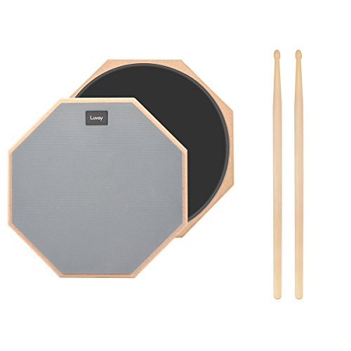 Luvay 12-inch Practice Pad (Grey) 2-Sided Silent Drum Pad, with 5A DrumSticks