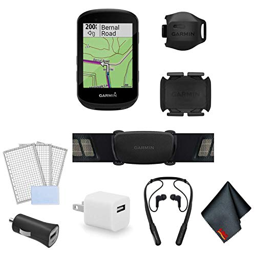 Garmin Edge 530 GPS Cycling/Bike Computer Sensor Bundle with Wrap Around Bluetooth Earbuds + LCD Screen Protectors + USB Adapter and More